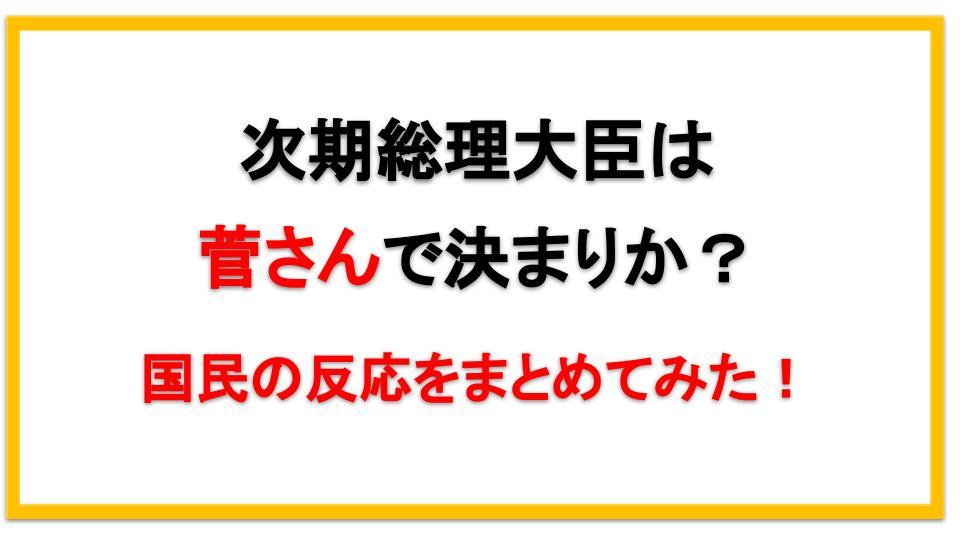 次期総理大臣は菅さんで決まりか?国民の反応をまとめてみた!